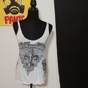 Crash and Burn white tank w/ black spade design